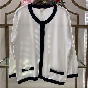 Prim & Proper Black & white 3/4 sleeve cardigan